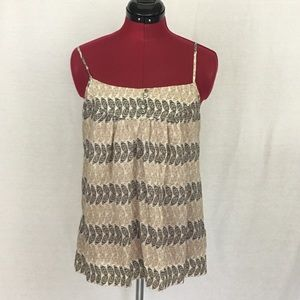 Banana Republic Tan & Brown Leaf Print Tank